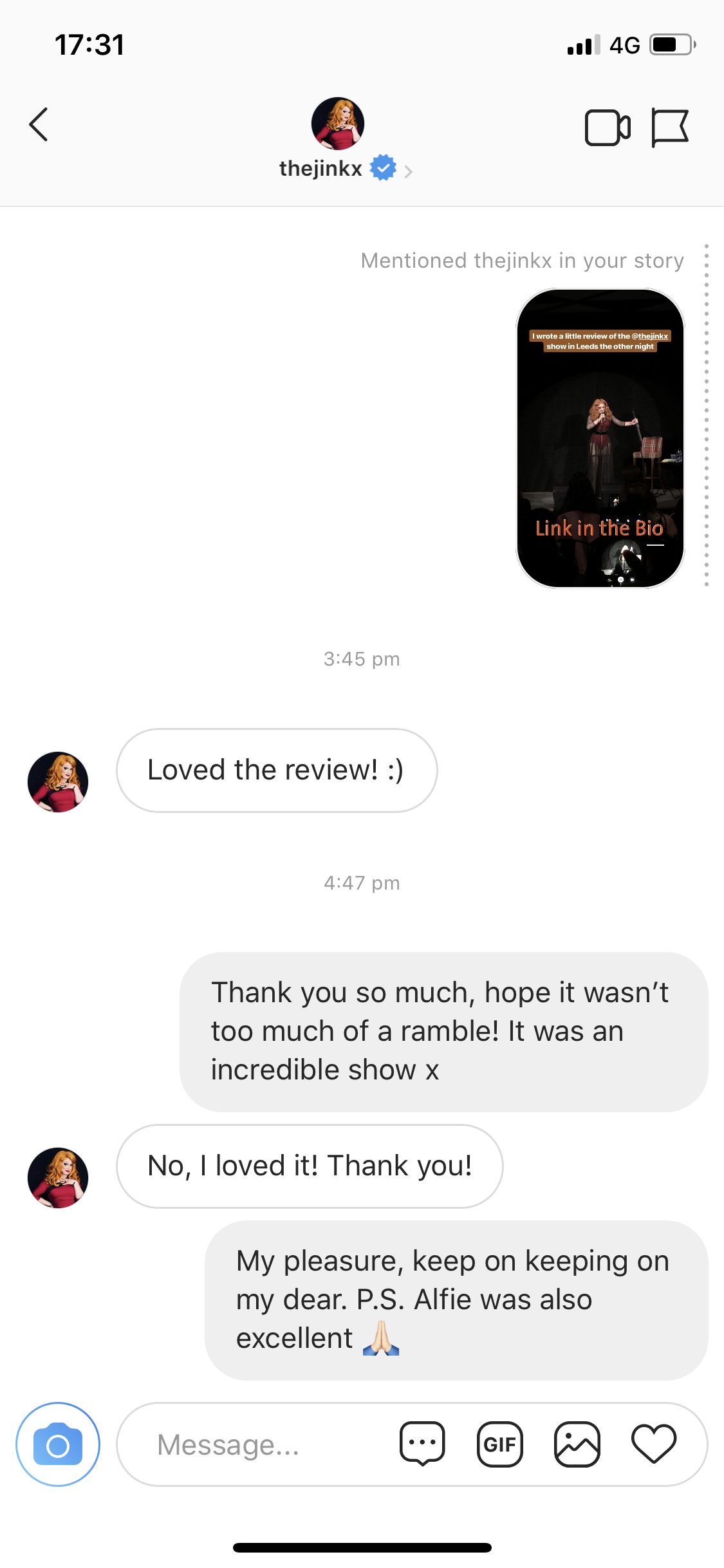 Jinkx Monsoon Instagram message
