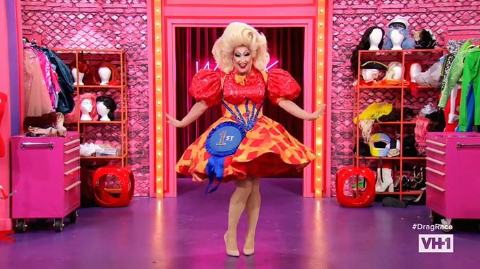 Sherry Pie enters the workroom of RuPaul's Drag Race Season 12