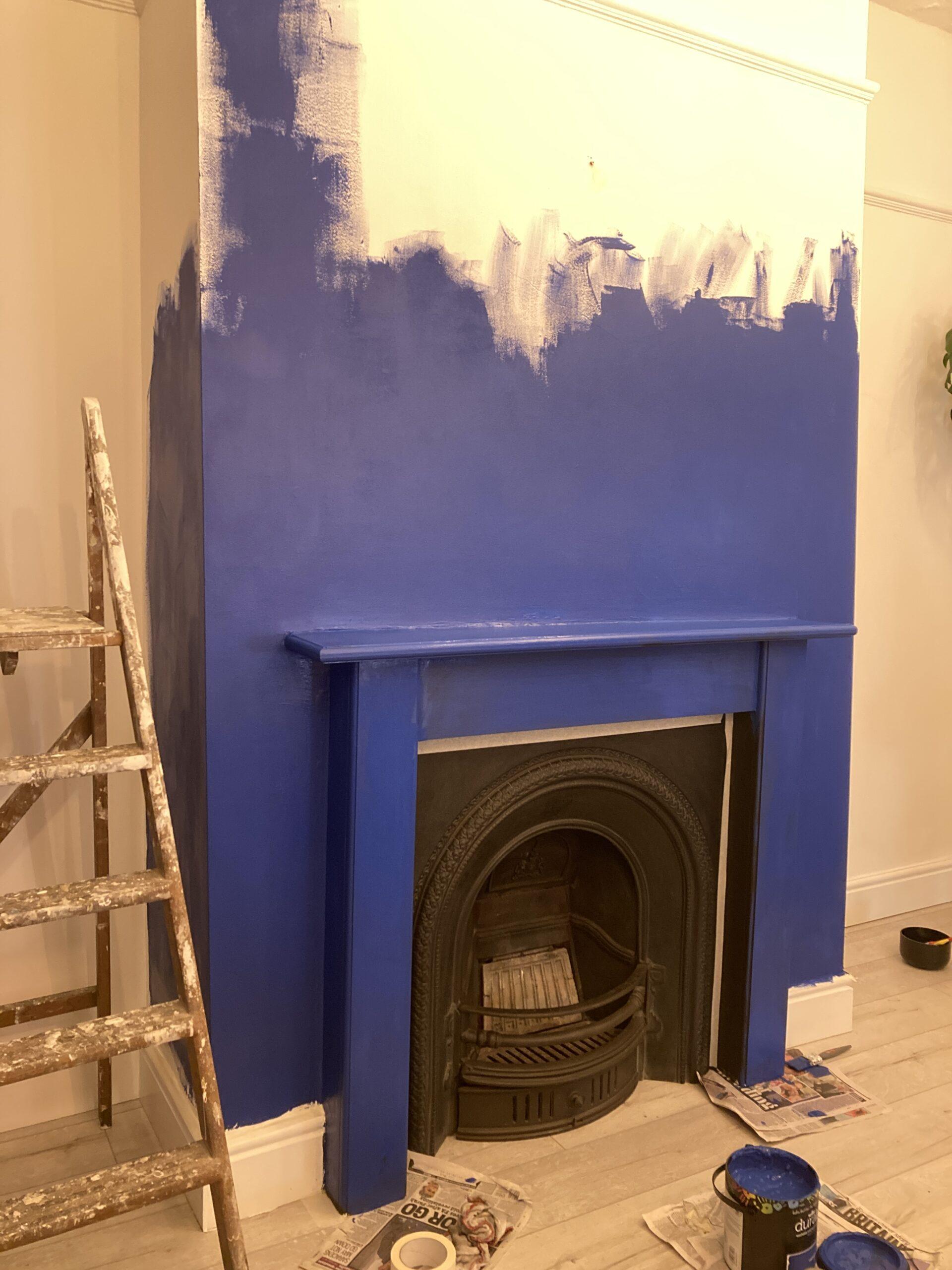 new blue fireplace